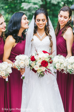 Take a look at this cute indian bride with bridesmaids.