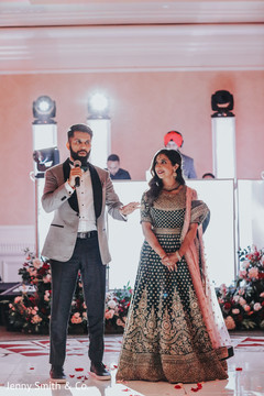 Indian groom delivering a message to the guests