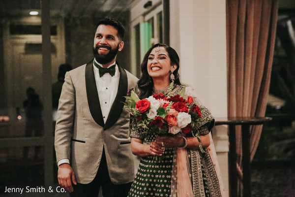 Joyful Indian couple during the reception