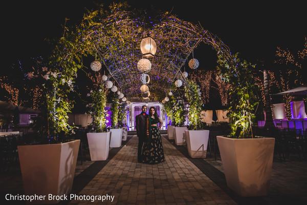Floral arrangement details of the Indian wedding reception venue