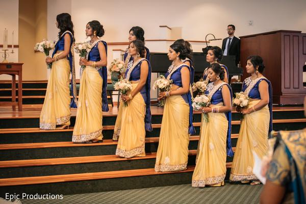 indian christian wedding ceremony,indian bridesmaids,church