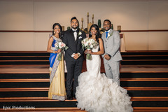 Indian bride and groom with relatives capture.