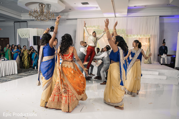 indian wedding reception dance,indian bridesmaids and groomsmen,indian bride and groom