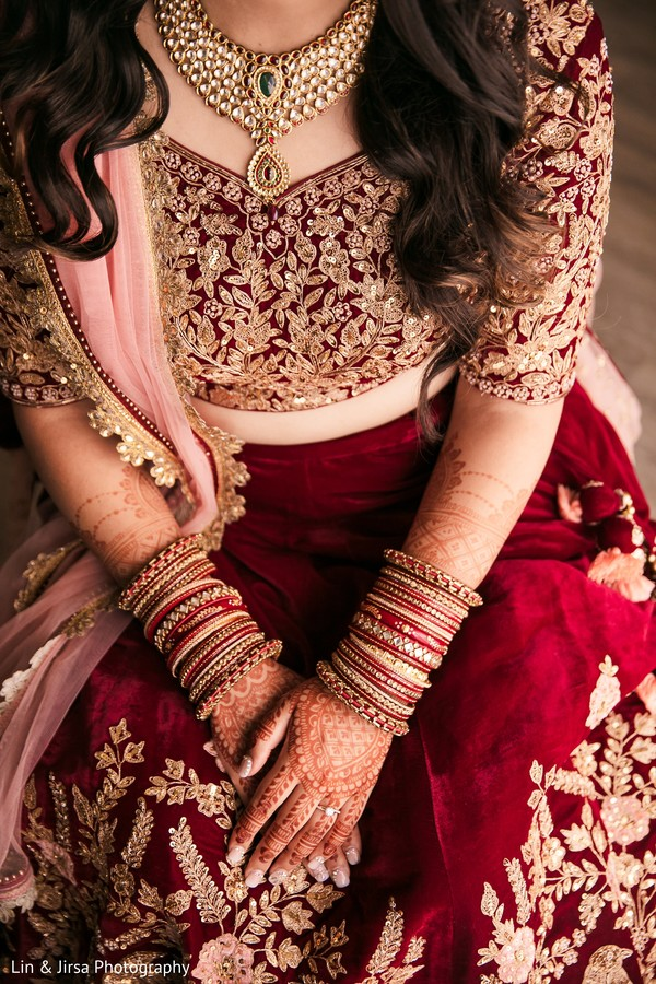 Stunning Indian bridal jewelry and lehenga capture.