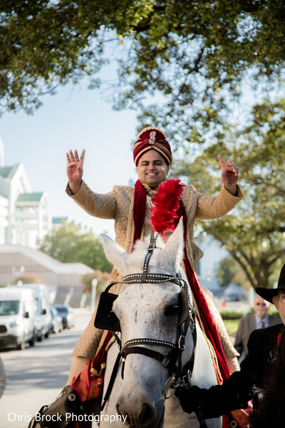 Elegant Indian groom riding his baraat horse.