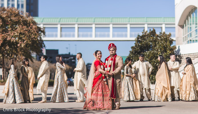Stunning capture of Indian bride and groom outdoors.