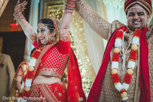 Lovely Indian bride and groom just married.