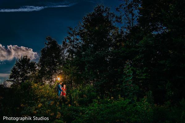 Indian wedding couple outdoors