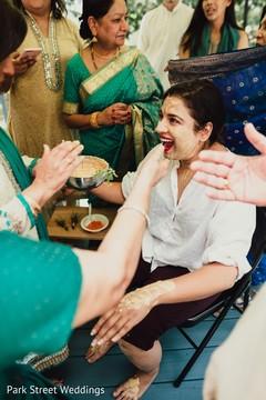 Traditional indian bridal haldi ritual.