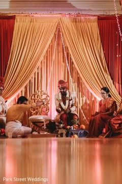 Elegant indian groom waiting for bride.