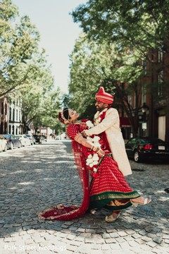 Traditional Indian bride and groom style.