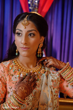 Gorgeous Indian bride on her sangeet outfit.