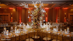 Fabulous stage draping, flowers and lights decor.