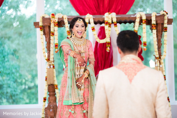 Indian bride and groom during the pre wedding rituals