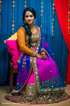 Colorful lengha used by the Indian bride