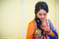 Mehndi design capture of Indian bride