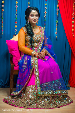 Colorful lengha used by Indian bride
