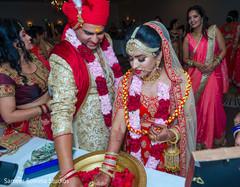 Vibrant portrait of Indian couple.