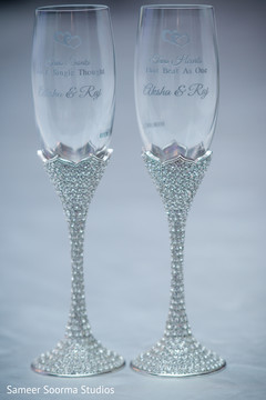 Glassware with Indian couple's initials