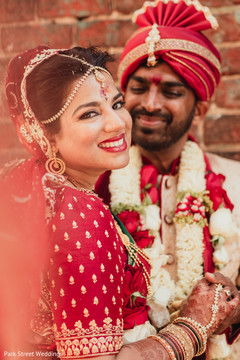 Enchanting Indian love birds portrait.