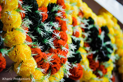 Colorful Indian pre-wedding flowers decoration.