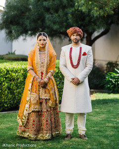 Indian couple posing for photo shoot.
