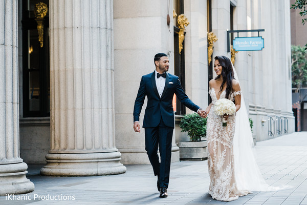 Indian bride and groom out of their Christian wedding.