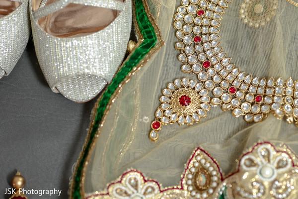 Elegant Indian bridal  Polki necklace choker and shoes.
