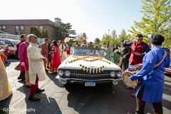 Baraat ritual during Indian pre-wedding celebration.