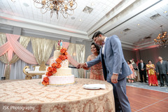 Lovely Indian couple cutting cake moment.