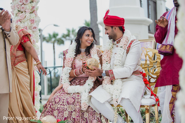 Indian wedding bride and groom during the ceremony