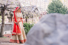 Indian bride outdoors by the park