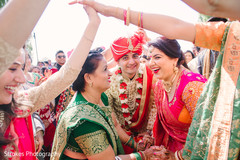 Ravishing guests with groom outdoors