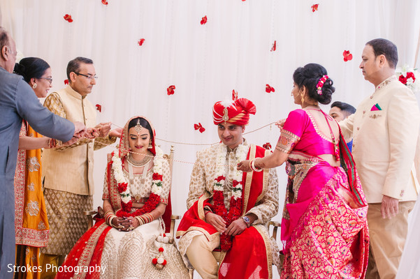 Indian bride and groom during the ceremony