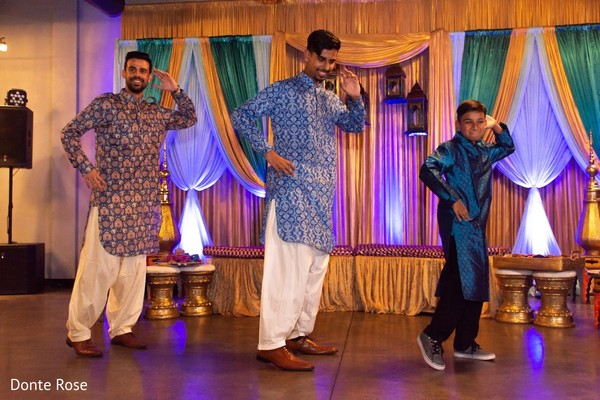Upbeat Indian groomsmen dance performance.