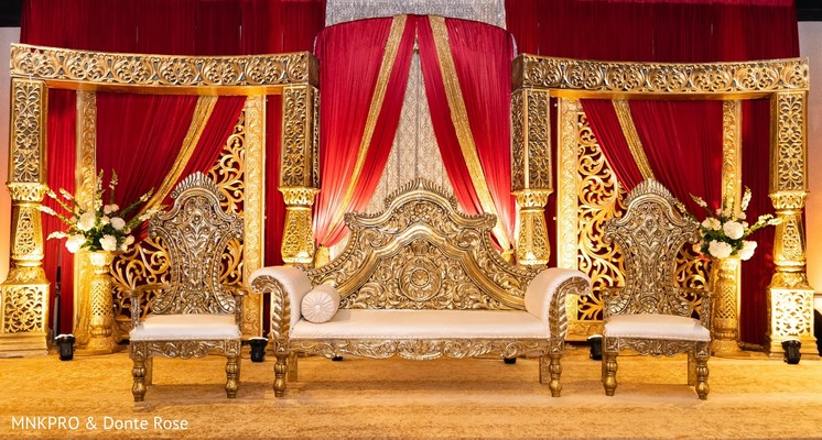 Stunning Indian wedding stage decoration.