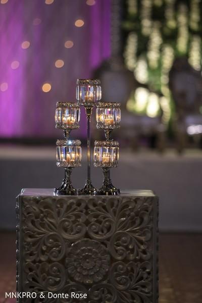 Elegant Indian wedding candle holders decor.