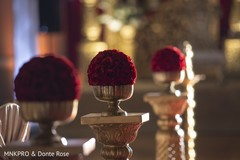 Incredible Indian wedding red roses decoration.