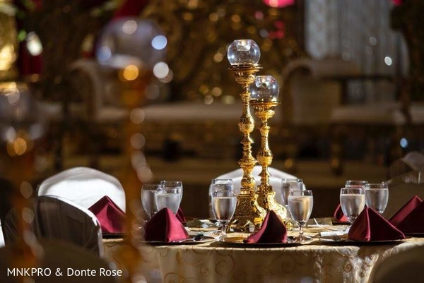 Elegant Indian wedding table centerpiece decor.