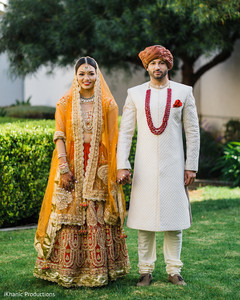 Lovely Indian couple out in garden capture.