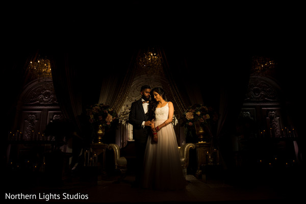 Romantic Indian wedding photography of bride and groom.