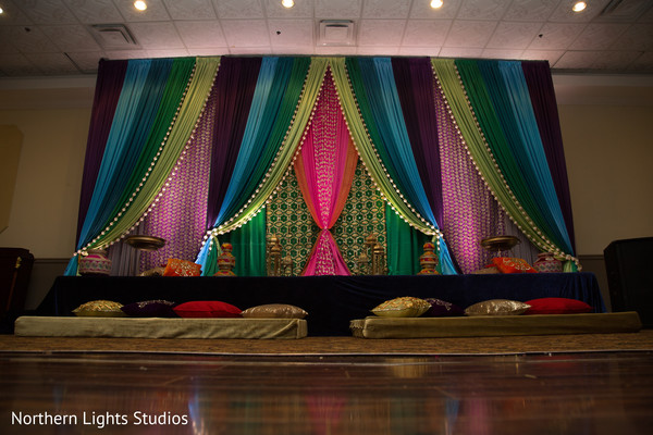 Magnificent Sangeet stage draping decoration.