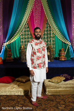 Charming Indian groom at his sangeet party.
