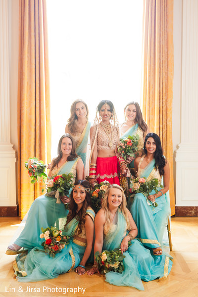 Beautiful Maharani posing with the bridesmaids