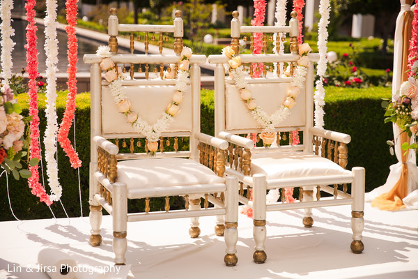 Chairs ready for the Indian wedding ceremony