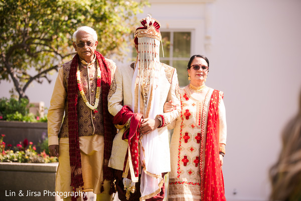 Indian groom making his grand entrance to the ceremony