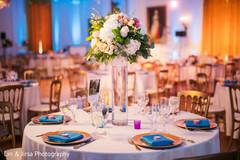Floral arrangement details for the reception