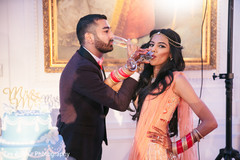 Indian newlyweds during the toast