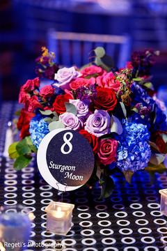 Indian wedding reception floral arrangement