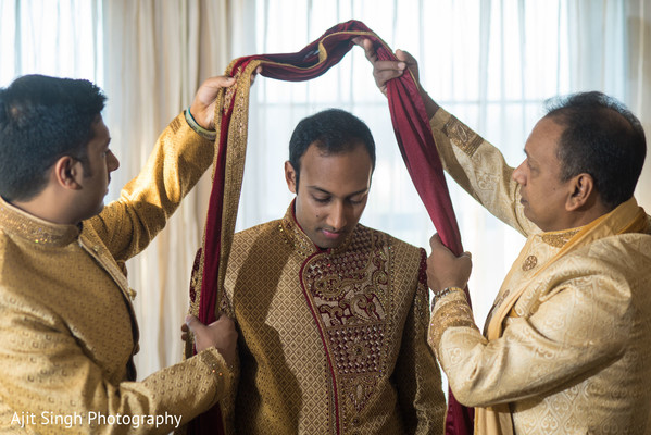 Indian groom getting ready for the ceremony